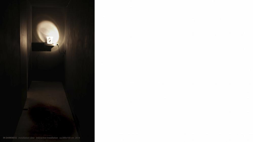 Sooyun Kim, IN DARKNESS (installation view), mixed media, interactive installation, ca.150x300cm, 2014