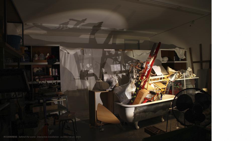 Sooyun Kim, IN DARKNESS (behind the scene), mixed media, interactive installation, ca.150x300cm, 2014