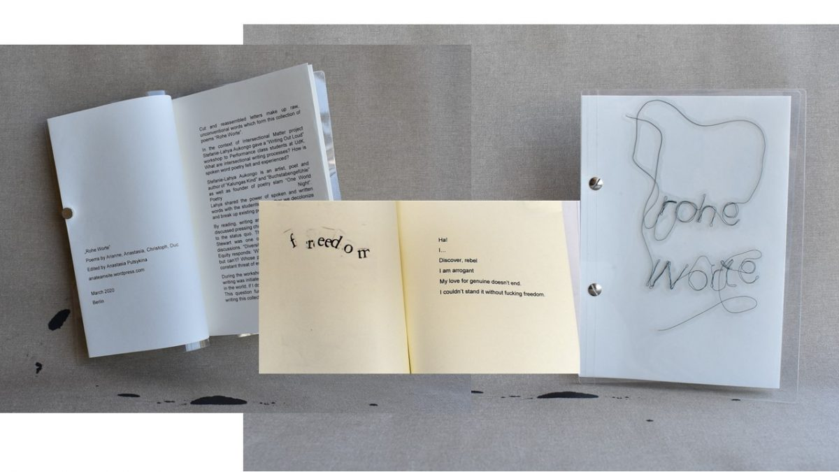 Rohe Worte, a collection of poems, 2020, printed Zine